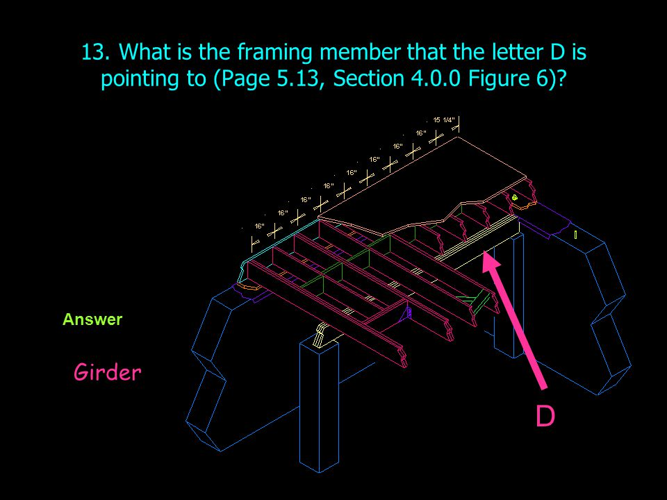 13. What is the framing member that the letter D is pointing to (Page 5.13, Section 4.0.0 Figure 6)