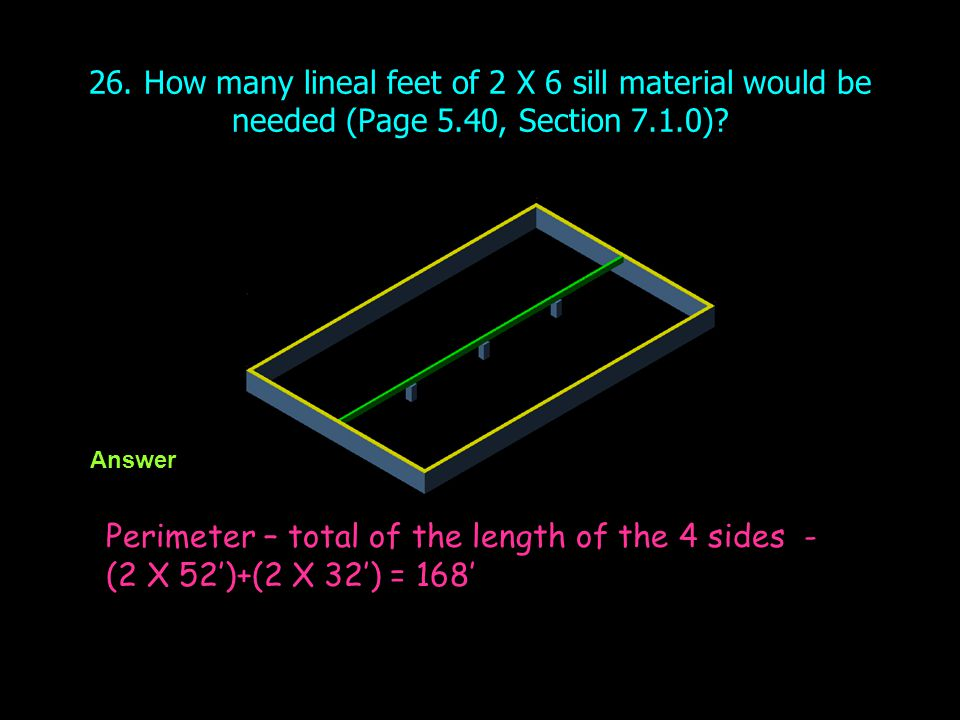 26. How many lineal feet of 2 X 6 sill material would be needed (Page 5.40, Section 7.1.0)