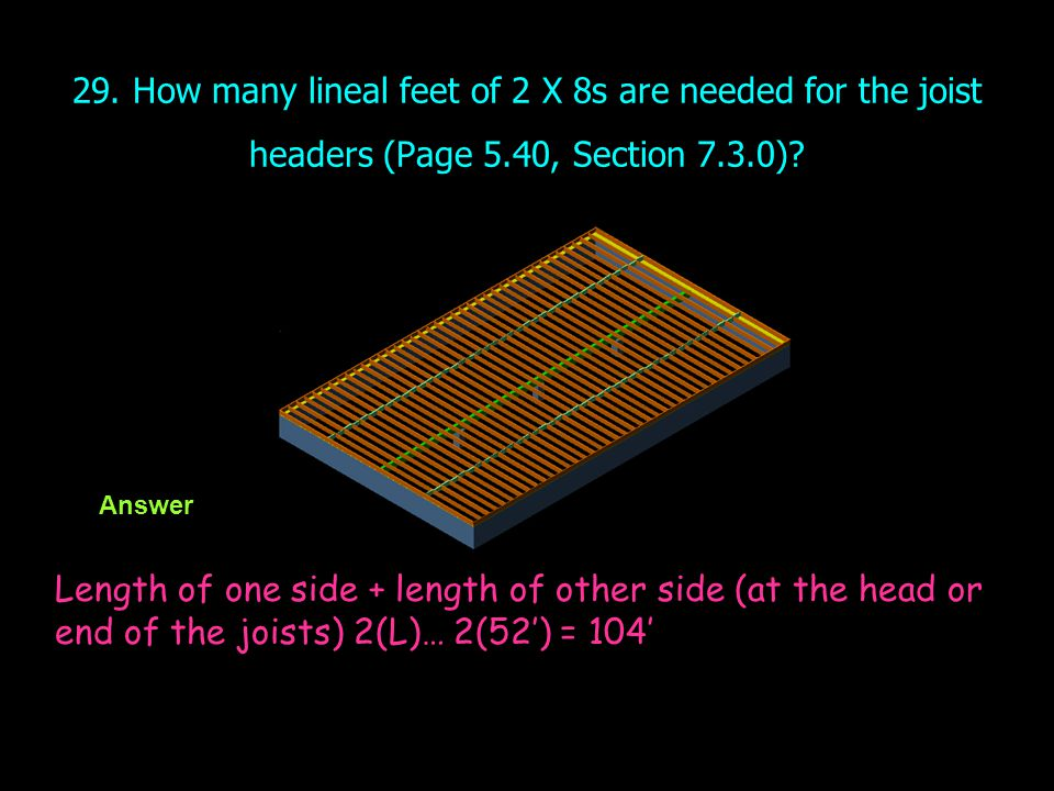 29. How many lineal feet of 2 X 8s are needed for the joist headers (Page 5.40, Section 7.3.0)