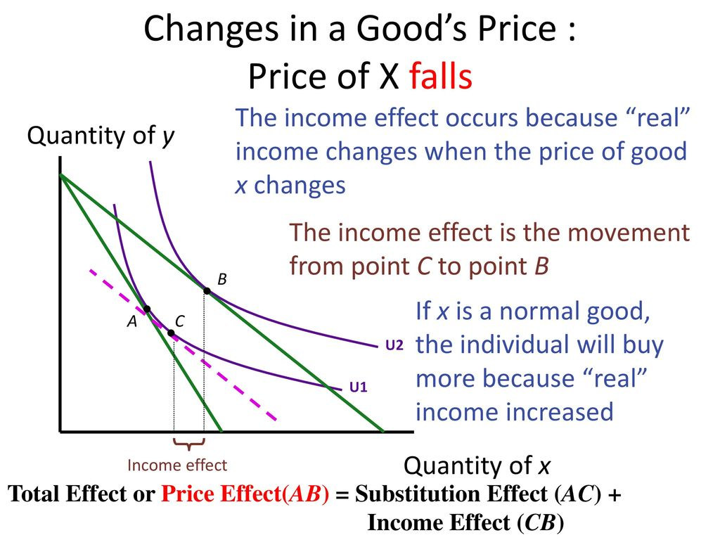 Changes in a Good's Price : Price of X falls