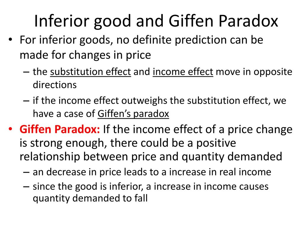 Inferior good and Giffen Paradox