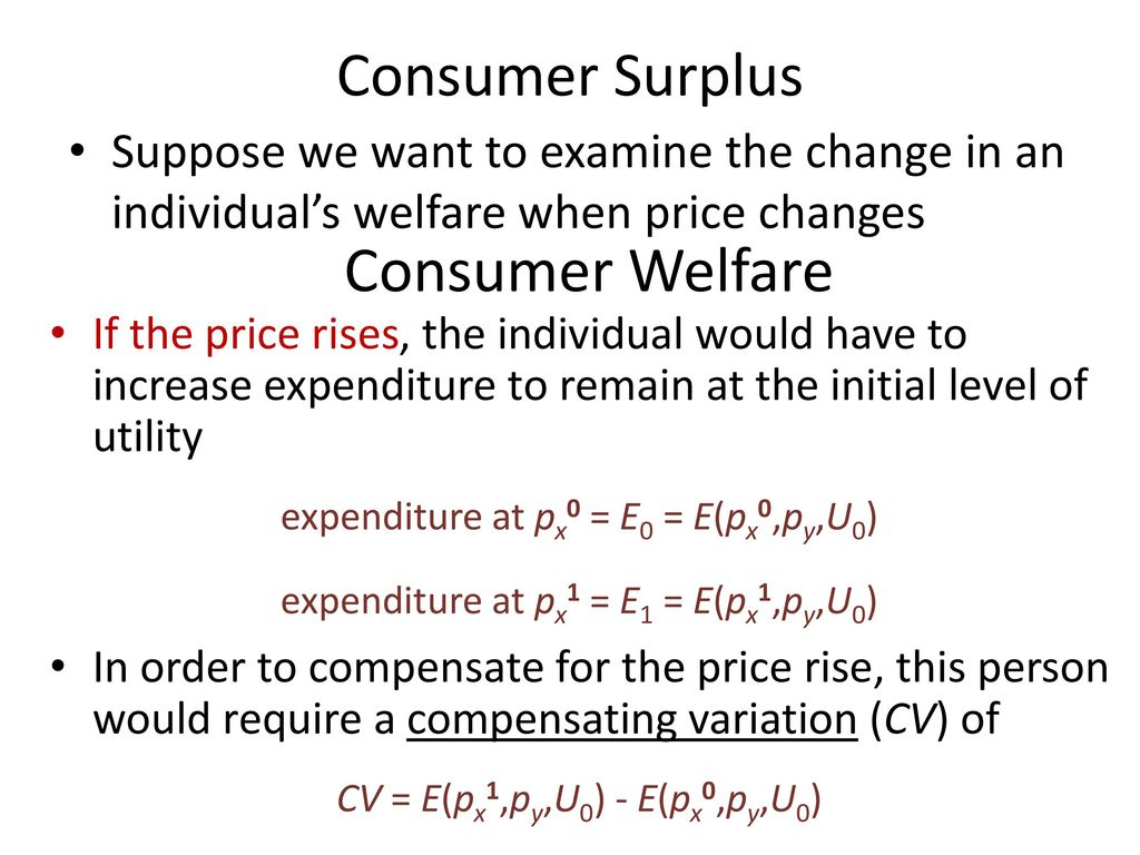 Consumer Welfare Consumer Surplus