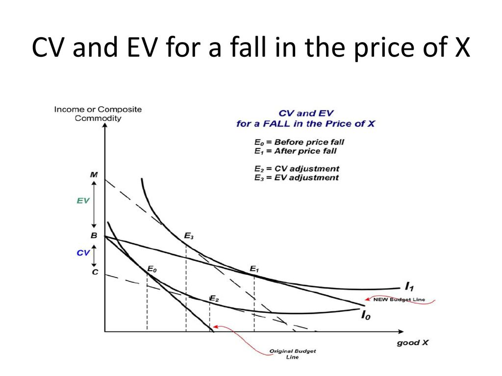 CV and EV for a fall in the price of X