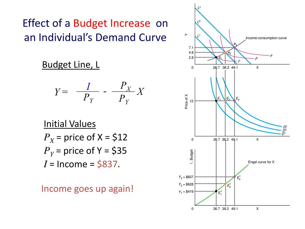 Effect of a Budget Increase on an Individual's Demand Curve