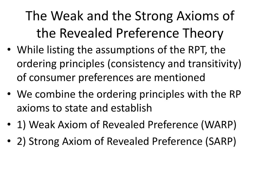 The Weak and the Strong Axioms of the Revealed Preference Theory