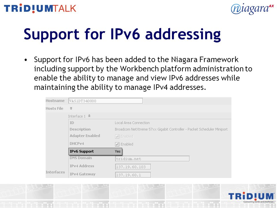 Support for IPv6 addressing