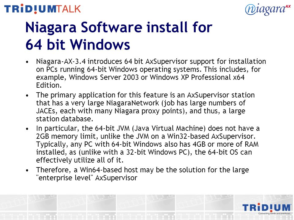 Niagara Software install for 64 bit Windows