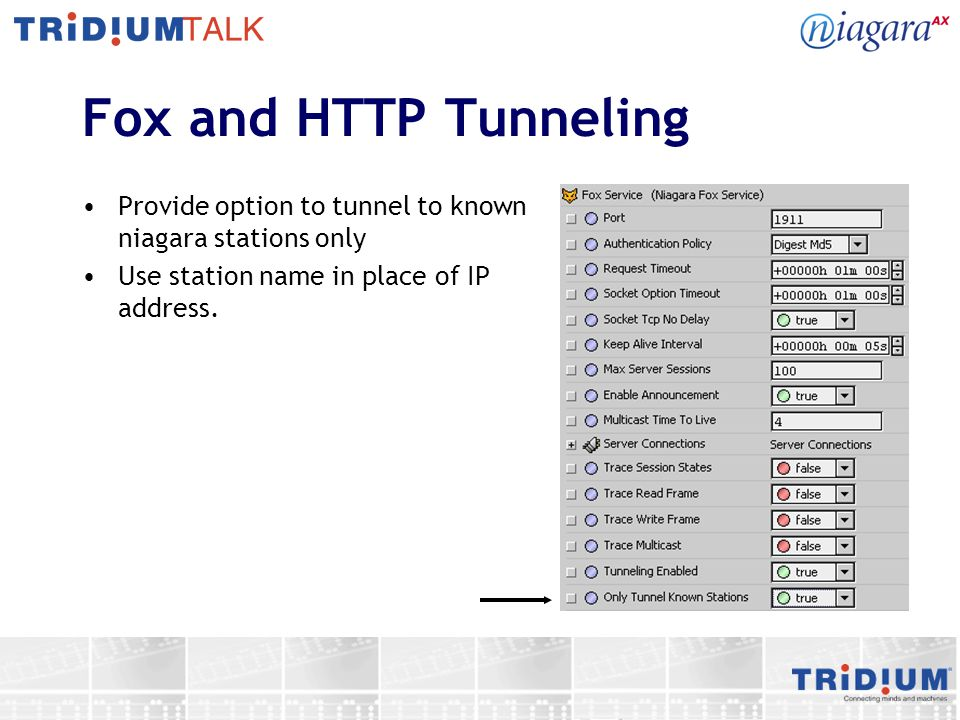 Fox and HTTP Tunneling Provide option to tunnel to known niagara stations only.
