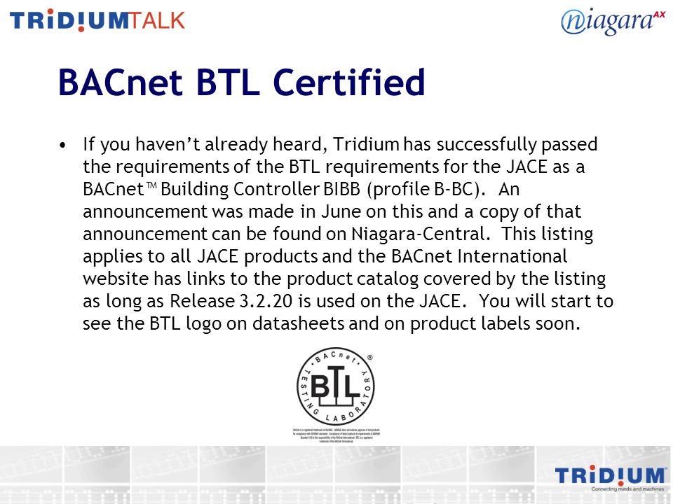 BACnet BTL Certified