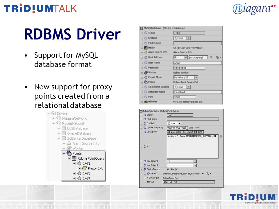 RDBMS Driver Support for MySQL database format