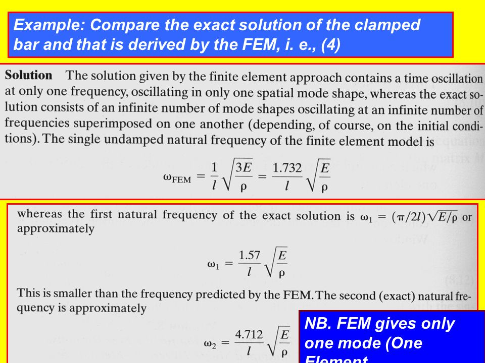 Example: Compare the exact solution of the clamped bar and that is derived by the FEM, i. e., (4)