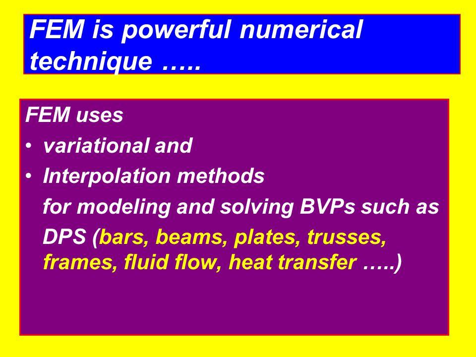 FEM is powerful numerical technique …..