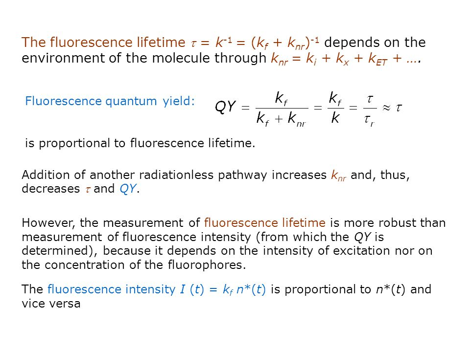 The fluorescence lifetime t = k-1 = (kf + knr)-1 depends on the environment of the molecule through knr = ki + kx + kET + ….