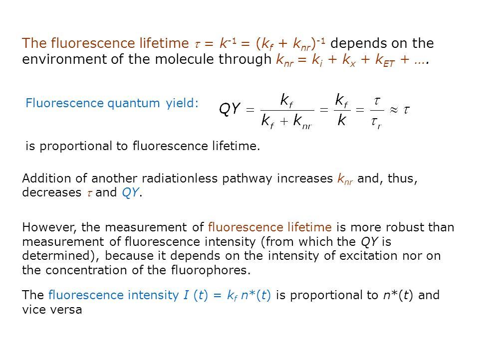The fluorescence lifetime t = k-1 = (kf + knr)-1 depends on the environment of the molecule through knr = ki + kx + kET + ….