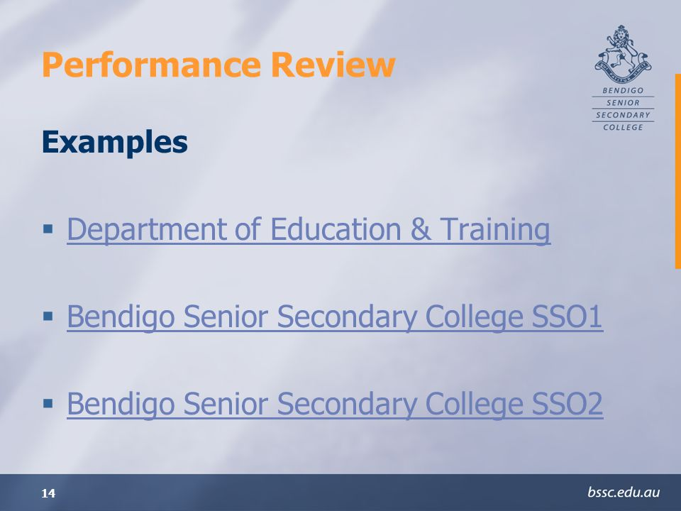 Performance Review Examples Department of Education & Training