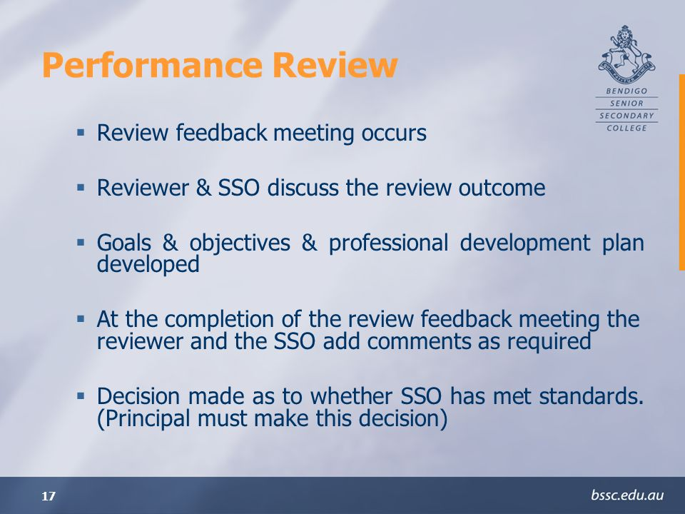 Performance Review Review feedback meeting occurs
