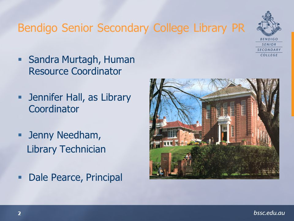 Bendigo Senior Secondary College Library PR