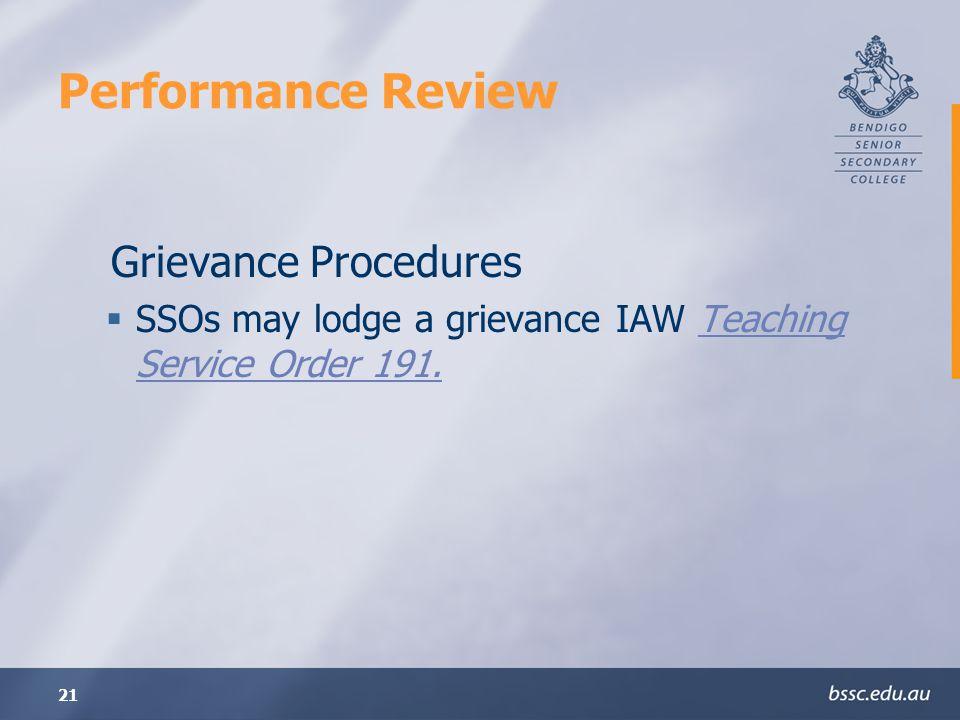 Performance Review Grievance Procedures