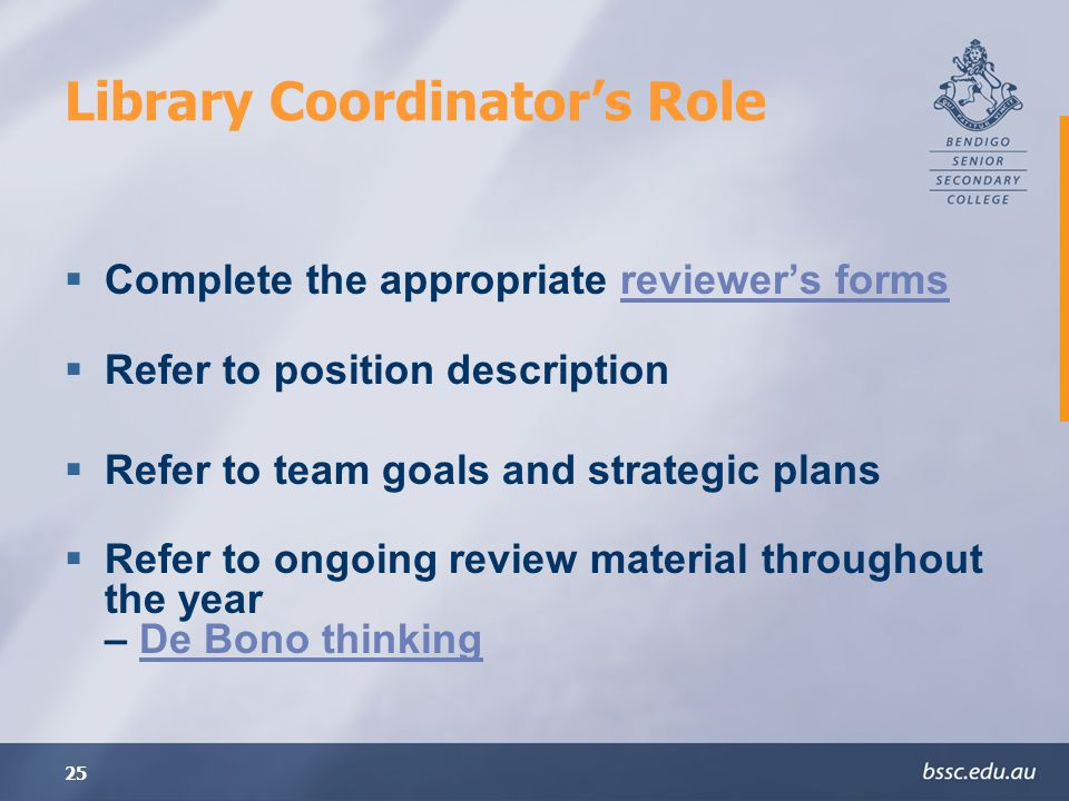 Library Coordinator's Role