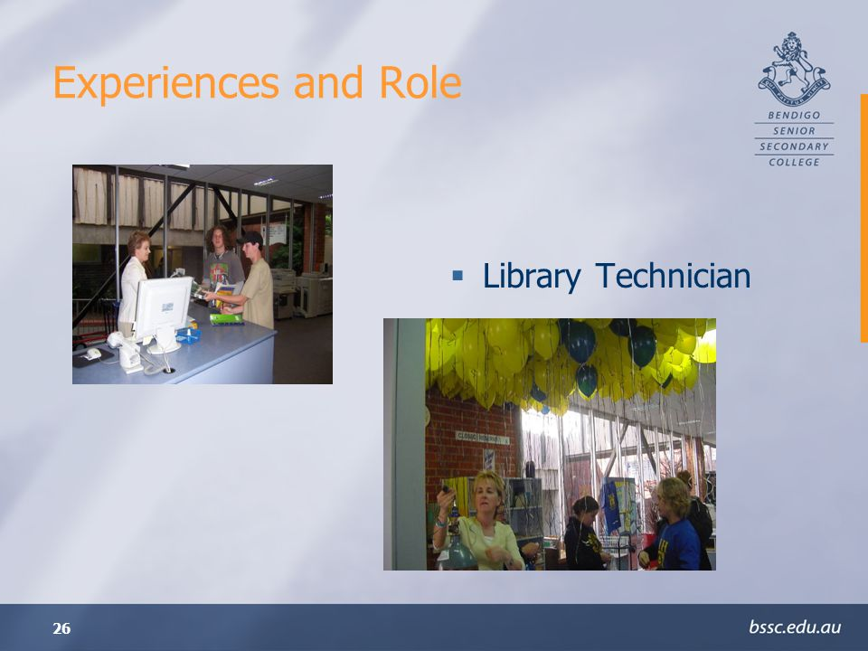 Experiences and Role Library Technician