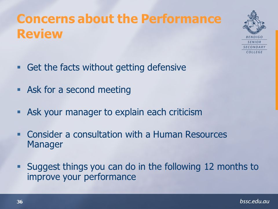Concerns about the Performance Review