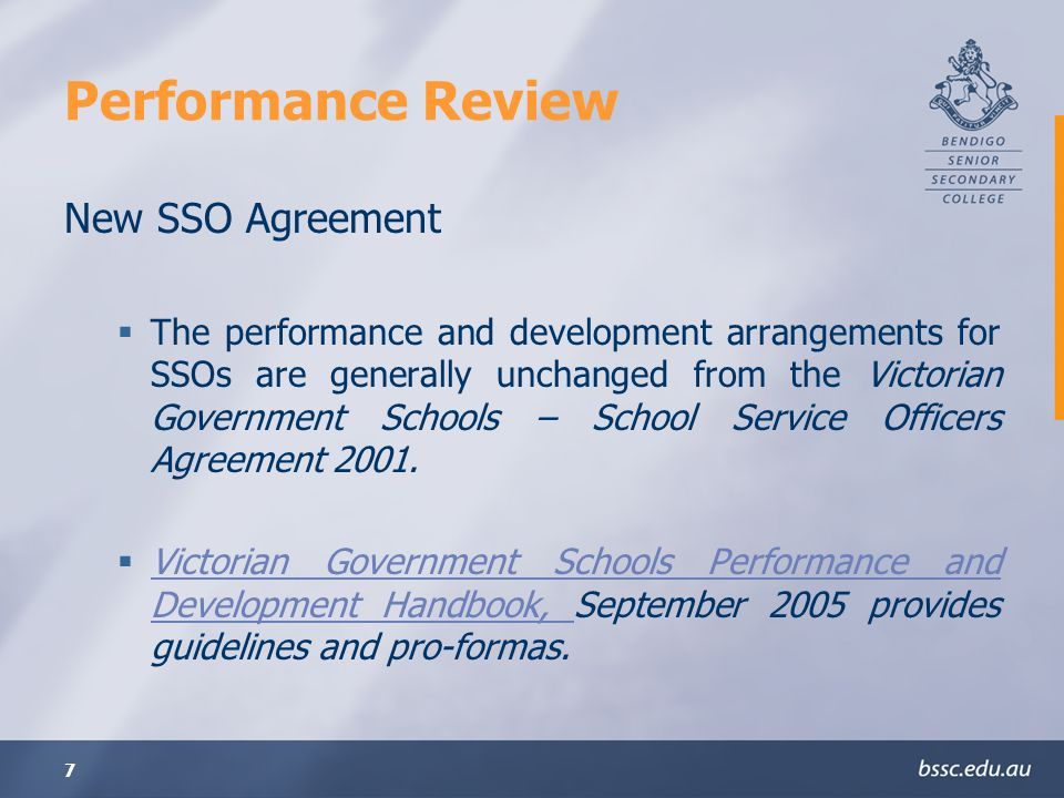 Performance Review New SSO Agreement