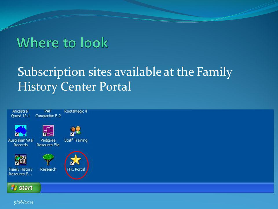 Where to look Subscription sites available at the Family History Center Portal 3/31/2017