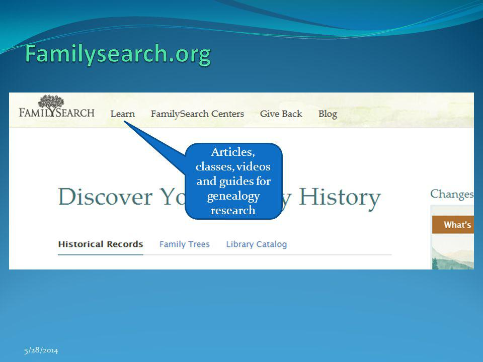 Articles, classes, videos and guides for genealogy research