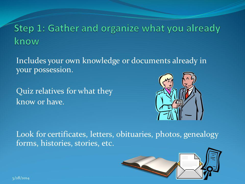 Step 1: Gather and organize what you already know