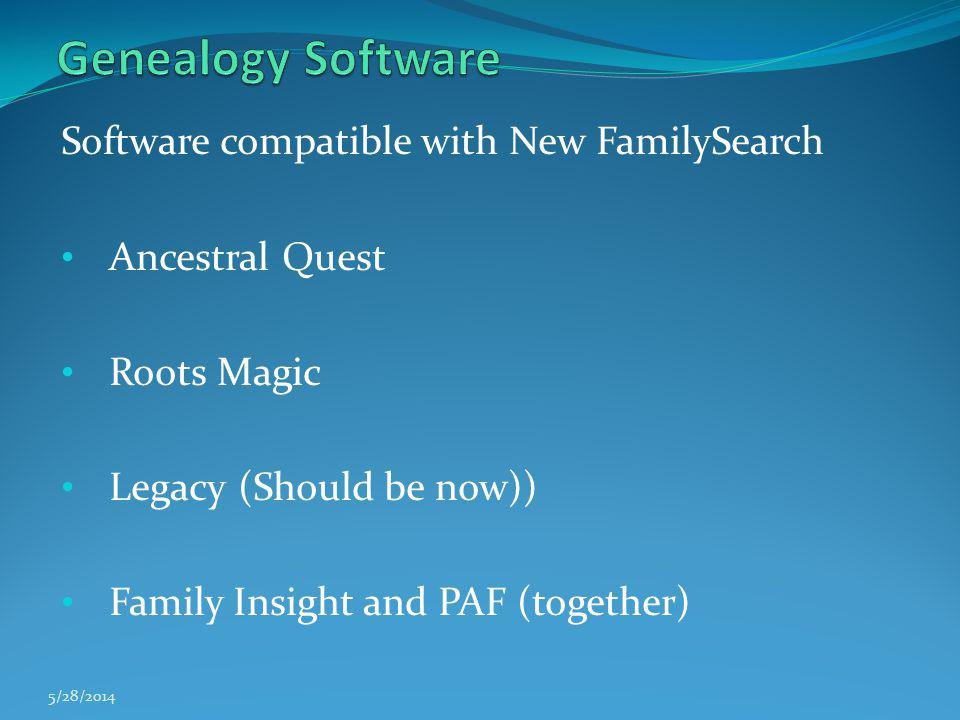 Genealogy Software Software compatible with New FamilySearch