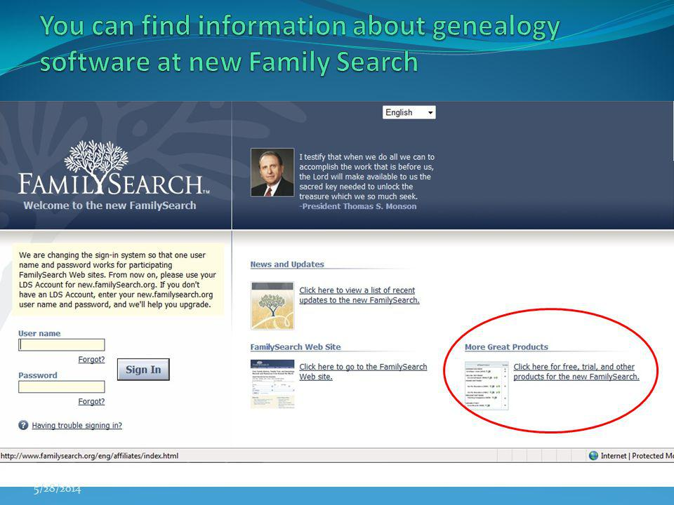 You can find information about genealogy software at new Family Search