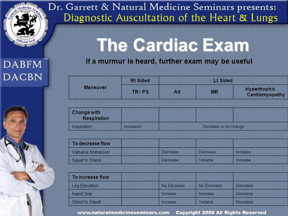 The Cardiac Exam If a murmur is heard, further exam may be useful