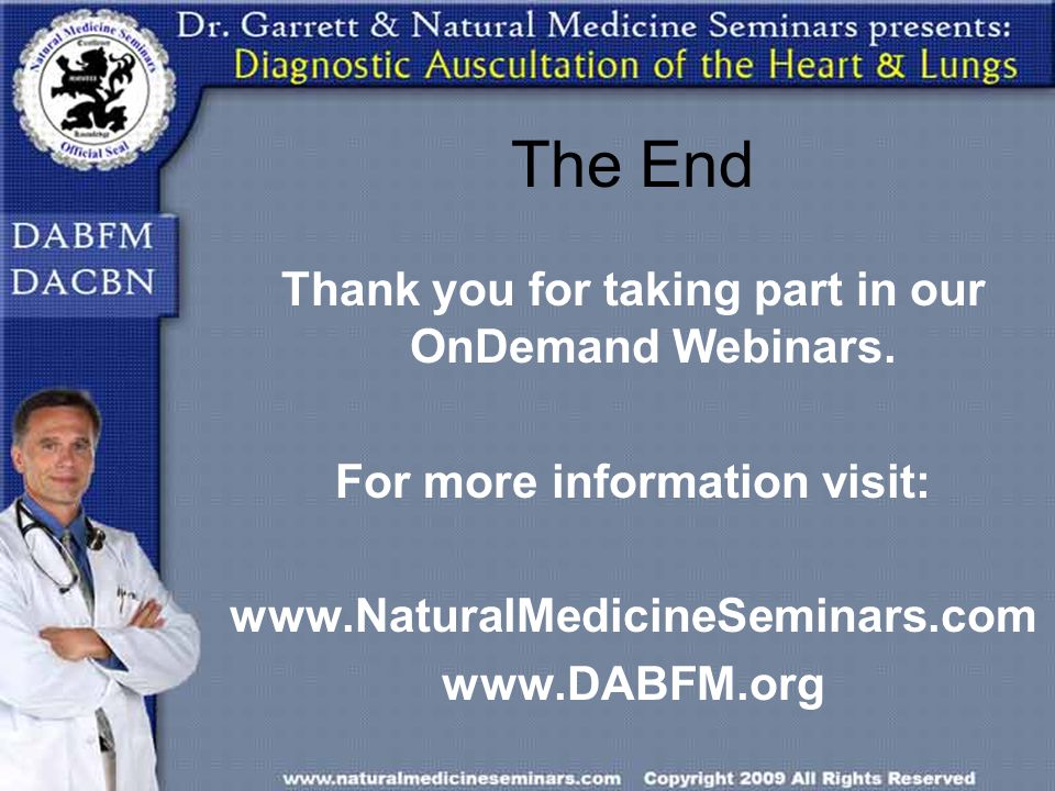 The End Thank you for taking part in our OnDemand Webinars.