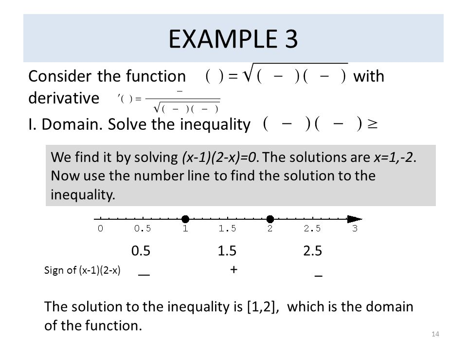 EXAMPLE 3 Consider the function with derivative I. Domain. Solve the inequality