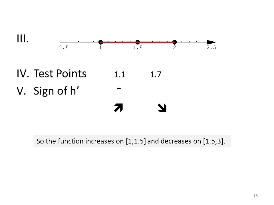 III. Test Points 1.1 1.7 Sign of h' + __  