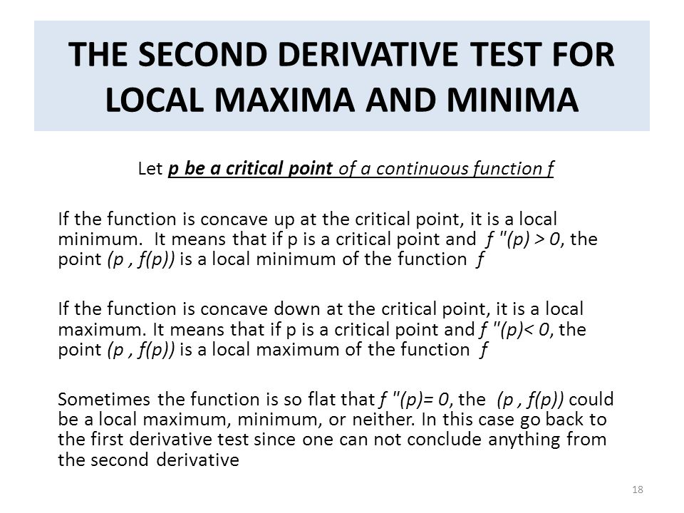 THE SECOND DERIVATIVE TEST FOR LOCAL MAXIMA AND MINIMA