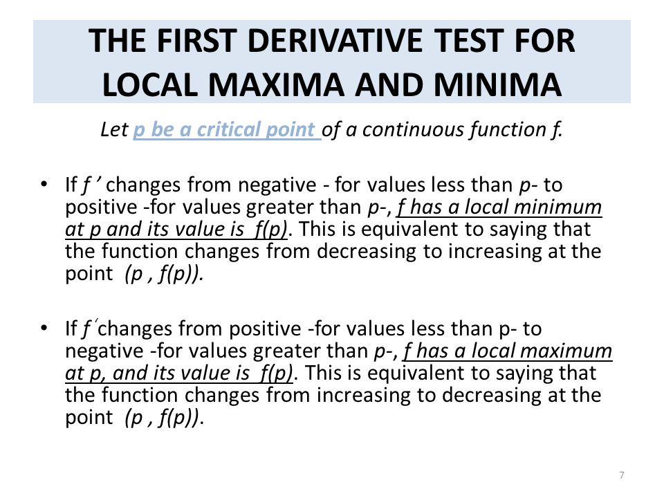 THE FIRST DERIVATIVE TEST FOR LOCAL MAXIMA AND MINIMA