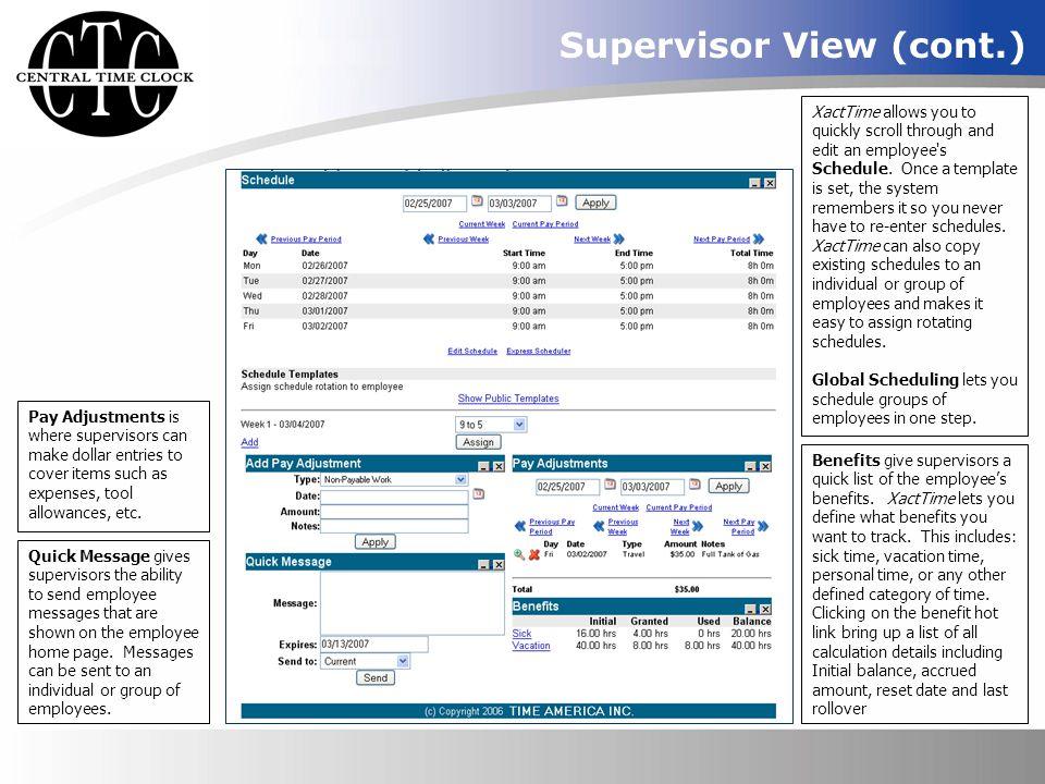 Supervisor View (cont.)