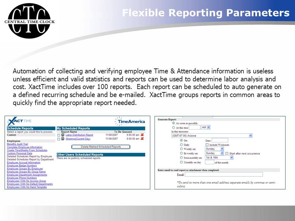 Flexible Reporting Parameters