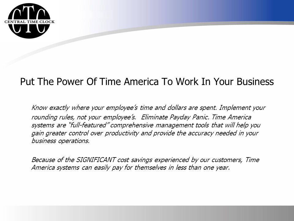 Put The Power Of Time America To Work In Your Business