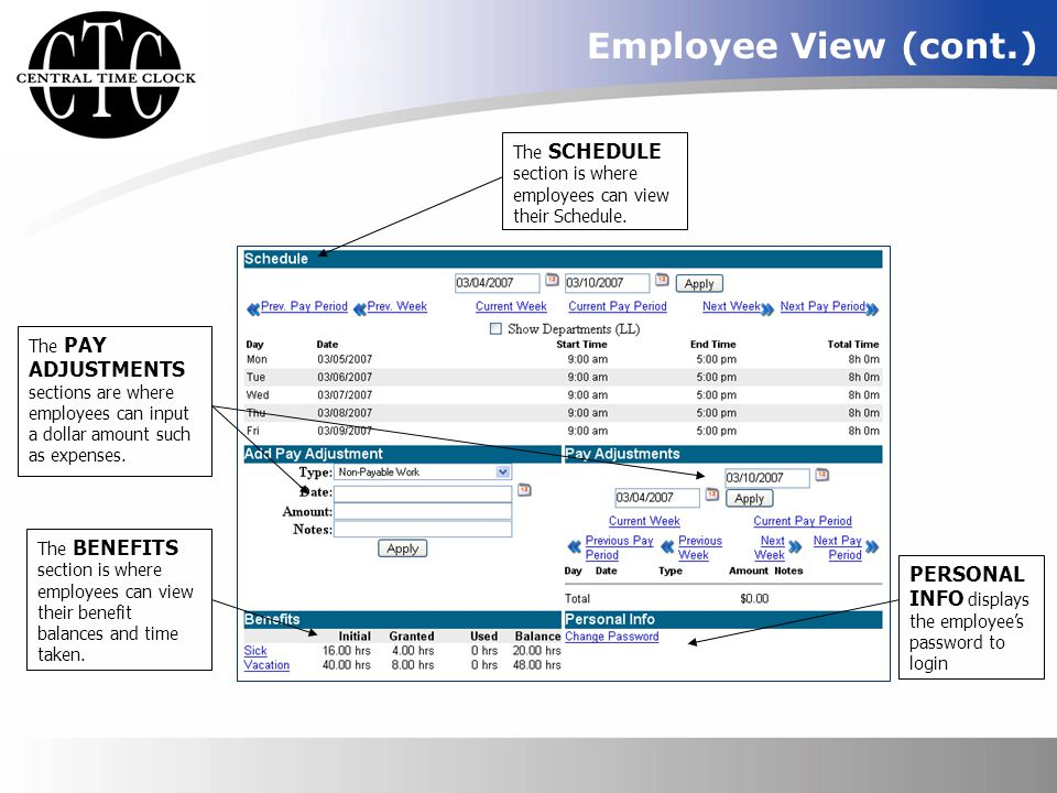 Employee View (cont.) The SCHEDULE section is where employees can view their Schedule.