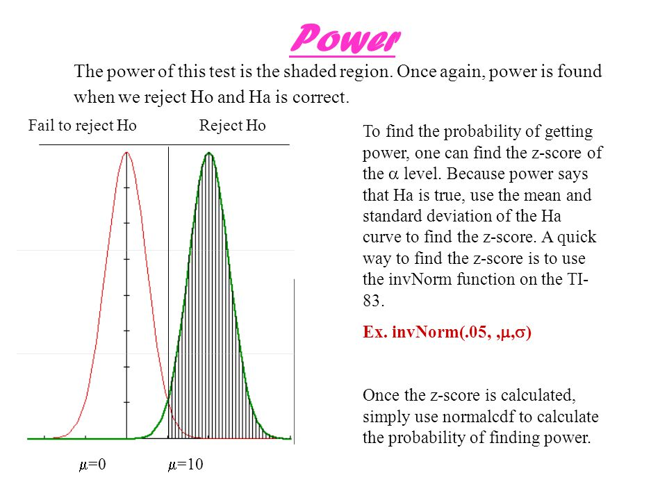 Power The power of this test is the shaded region. Once again, power is found when we reject Ho and Ha is correct.