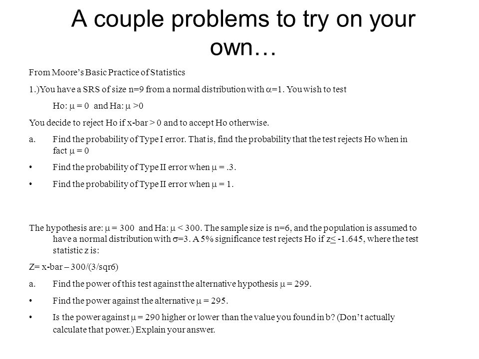 A couple problems to try on your own…