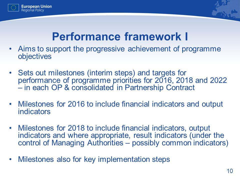 Performance framework I