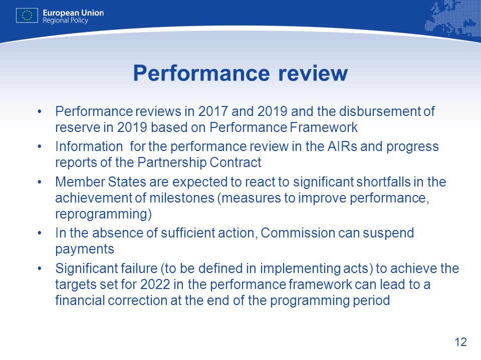 Performance review Performance reviews in 2017 and 2019 and the disbursement of reserve in 2019 based on Performance Framework.