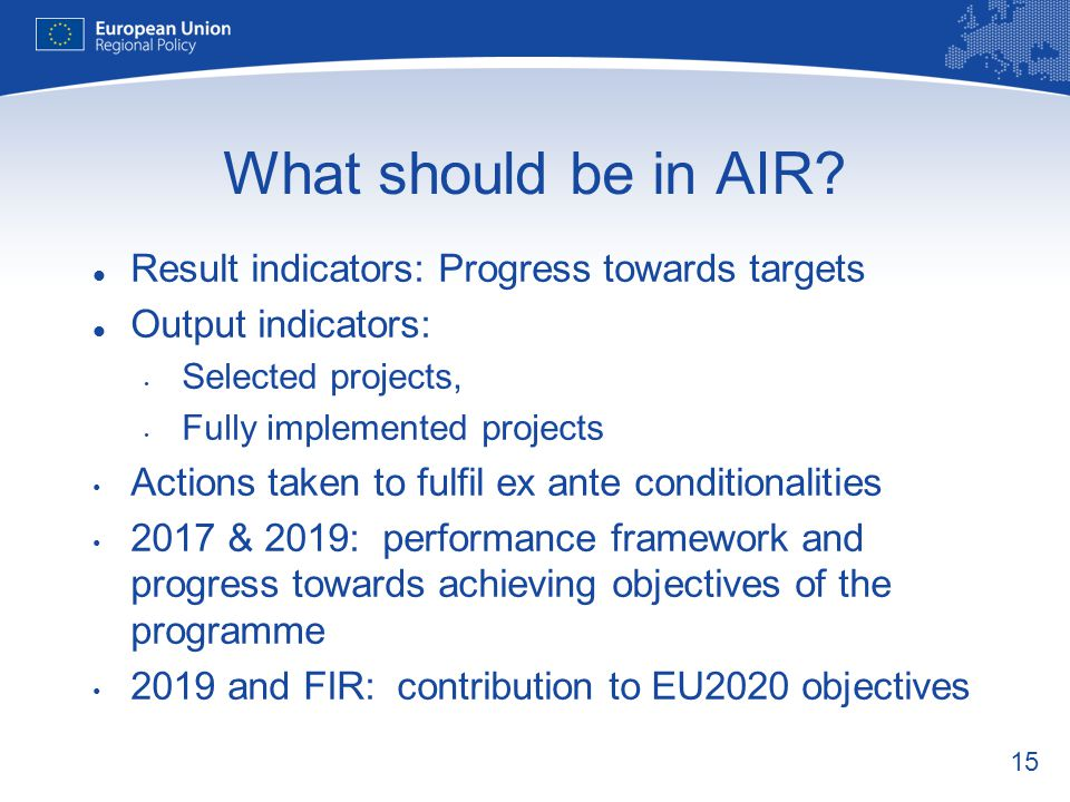 What should be in AIR Result indicators: Progress towards targets