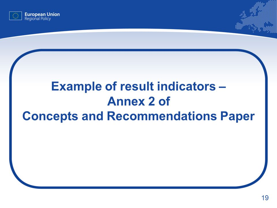 Example of result indicators – Annex 2 of Concepts and Recommendations Paper