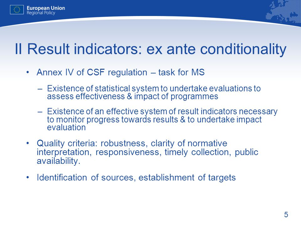 II Result indicators: ex ante conditionality