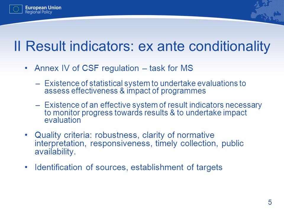 II Result indicators: ex ante conditionality
