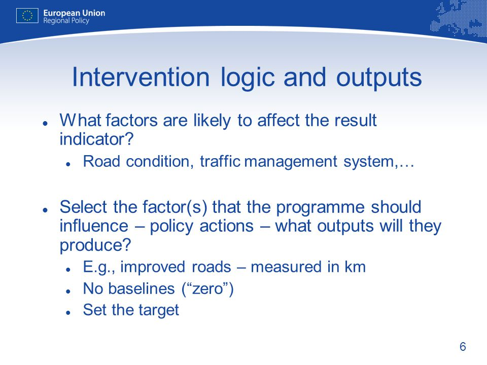 Intervention logic and outputs
